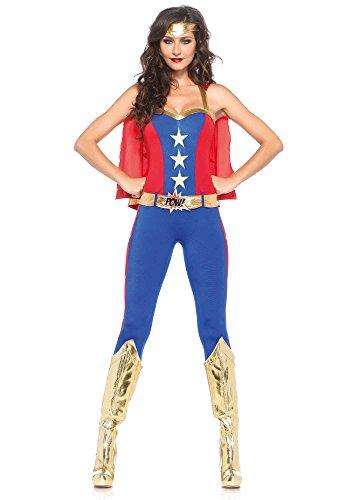Leg Avenue Women's 3 Piece Comic Book Super Hero Costume, Blue/Red, Medium