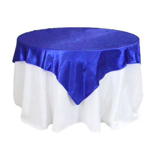 Koyal Wholesale Square Satin Overlay Table Cover, 60 By 60-Inch, Royal Blue front-930455