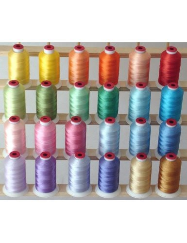 24-cone Polyester Embroidery Thread Kit - 24 Pastel colors - 1100 yards - 40wt