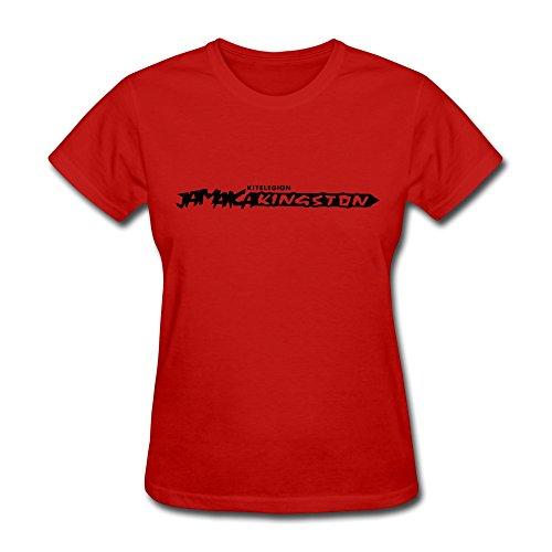 Tasy 100% Cotton Women'S Jamaica T-Shirt - M Red