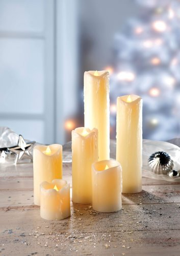 Lily'S Home Everlasting Flameless Pillar Led Candle, Wax Melted Edge With Drip Effect, Set Of 6 Candles; 2, 3, 4, 5, 7 & 9 Inch Tall