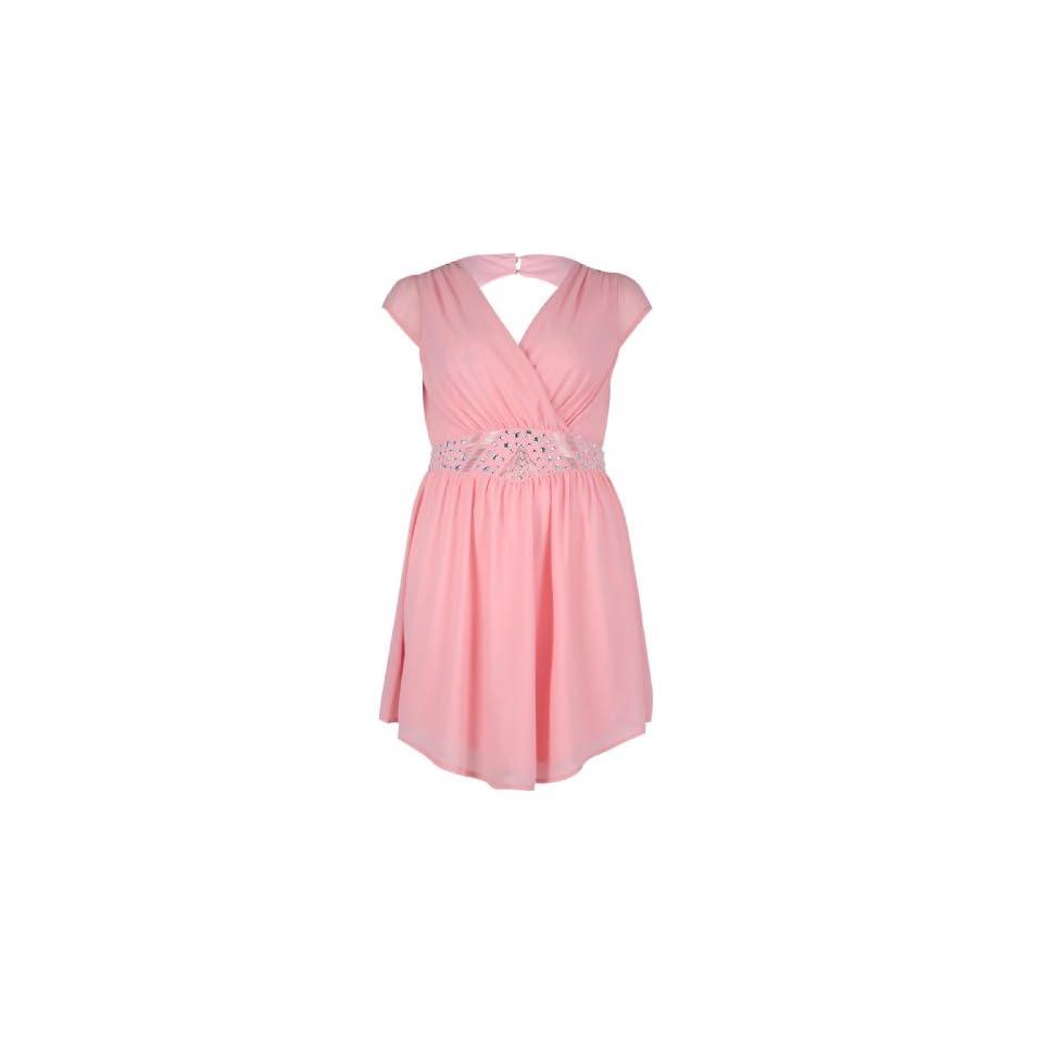 Yoursclothing Plus Size Womens Chiffon Dress With Embellished Waistband Size 20 Pink