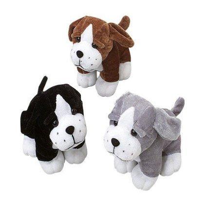 Set of 3 Adorable Plush Sitting Puppy Dogs (Approx. 5 In.) / Party / Prize / Favor /Gift - 1