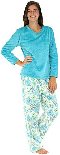 PajamaMania Sleepwear Fleece Pajama PJ Set Teal Snowflake PMPFR1386-2014-SML
