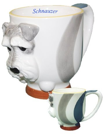 Schnauzer Collectible Dog Puppy Coffee Cup Porcelain Mug Figurine Art