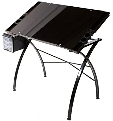 Martin Dezign Line Glass Drawing Table 23.6-Inch by 35.6-Inch Top