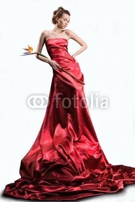 "Wallmonkeys Peel and Stick Wall Decals - Beautiful Girl in a Long Red Dress Holds an Flower in a Hand - 18""H x 12""W Removable Graphic"