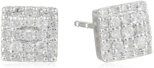 10k White Gold Square Cluster Earrings (0.25 cttw)