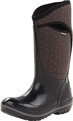 Bogs Women's Plimsoll Tall Herringbone Boot,Black/Grey,6 M US