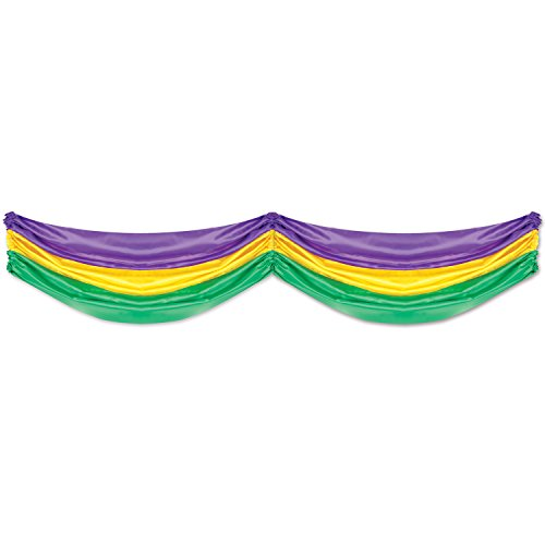 Mardi Gras Fabric Bunting (golden-yellow, green, purple) Party Accessory  (1 count) (1/Pkg) (Yellow And Purple Streamers compare prices)