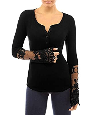 StyleDome Women Sexy Lace Long Sleeve Button Neck Elastic Blouse Shirt Tops