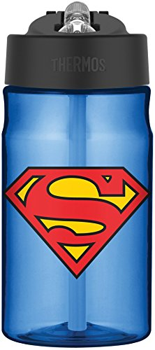 Thermos Blue Superman Tritan Straw Bottle ( 12 Oz )