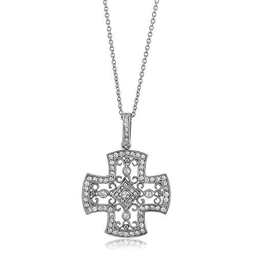 Berricle 925 Sterling Silver Cubic Zirconia Cz Cross Women Fashion Pendant Necklace