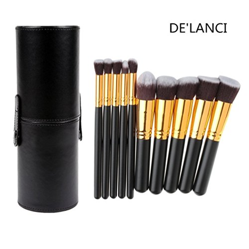 DE'LANCI 10 Pcs Synthetic Makeup Brushes - Makeup Brush Set - Cosmetics Foundation Blending Blush Face Concealer Powder Make Up Brush Tools - Contouring Brush Kits with Black Leather Cup Holder Case (Brush Canister compare prices)