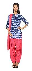 Rama Suit Set of Indigo Color Floral Print Chinese Collar Neck 3/4 Sleeve Women Kurti & Pink Color Patiyala & Duppatta