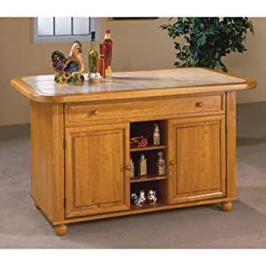 Julian Kitchen Island with Sliding Ceramic Tile Top