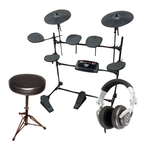 Pyle Electronic Drum Set, Stool And Dj Headphones Package - Ped02M Electric Thunder Drum Kit With Mp3 Recorder - Pkst50 Double Braced Folding Padded Drum Throne - Keyboard Bench - Guitar Stool - Phpdj1 Professional Dj Turbo Headphones