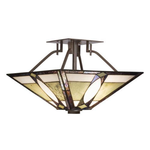 B003MVSI6C Kichler Lighting 65323 2-Light Denman Art Glass and Stone Semi-Flush Ceiling Light, Olde Bronze