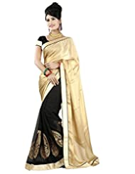 EthnicPark Saree Georgette Gold And Black Half And Half