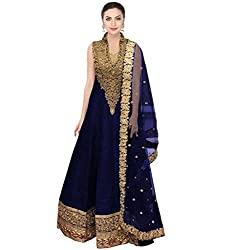 SK Clothing Blue Color Raw Silk Dori Work Embroidered Semi_Stiched Long Suit For Women