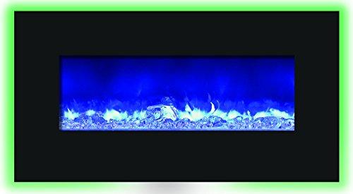 "Amantii 34"" Electric Fireplace, 44"" X 23"" Black Glass Surround Aiwmbifi344423Blkgls"