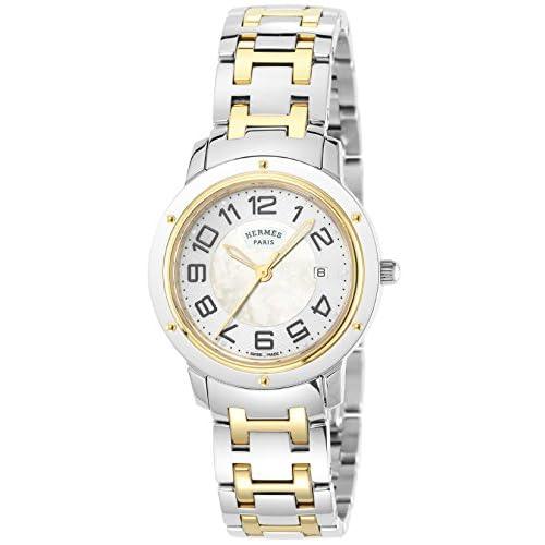 [エルメス]HERMES 腕時計 クリッパー ホワイトパール文字盤 K18YG/ステンレス デイト CP1320.212.4968 レディース 【並行輸入品】