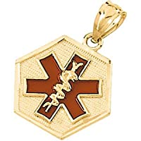 14K Yellow Gold Medical Id Pendant