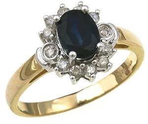 Bague - PR2547(H) - Anillo de mujer de oro amarillo (9k) con diamantes y zafiros (talla: 6.5)