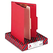 Smead Classification Folder, Letter, 2/5 Right Of Center, 1 Divider, Red, 10 Per Box (13703)