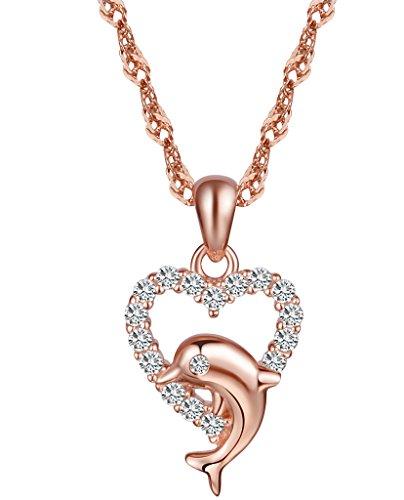 yumilok Gioielleria Argento 925collana con ciondolo a forma di cuore, delfino, con Zirconia cubica, placcato in oro rosa per donne/ragazze