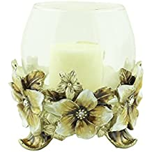 Hibiscus Candle Holder With Crystals Beige For Tea Light Or Votive By JewelryNanny
