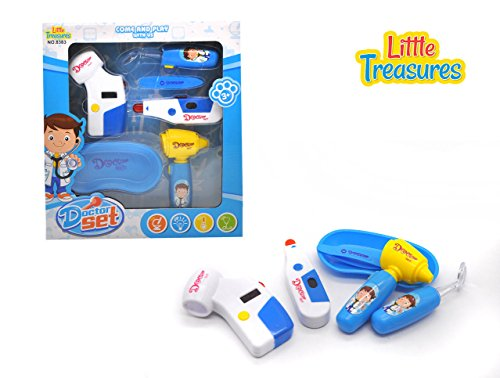 Doctor Set - an educational role play toy set, for kids 3 and plus, features sturdy medical tools like an electronic blood pressure monitor, thermometer, otoscope, magnifier, emesis basin and forceps (Blood Pressure Kit For Kids compare prices)
