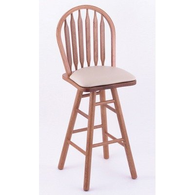 "York 36"" Arrow Back Extra Tall Bar Stool Wood Finish: Medium Oak, Seat Type: Upholstery - Vinyl-Nuroyal, Leg Type: Turned"