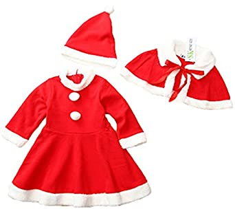 Winter Girls Santa Red Clothing Kid Girls Flannel Santa Suit Costume