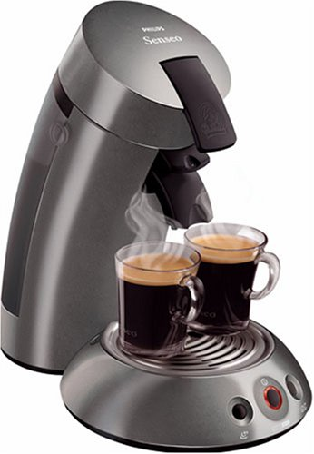 Philips Senseo HD7812/60 Coffee Pod Machine, Titanium + Espresso Pods  &  Pod Holder