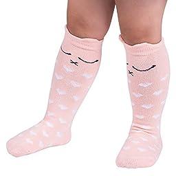 Qteland Cartoon Cat Pattern Unisex-baby Knee High Socks Tube socks for Kids