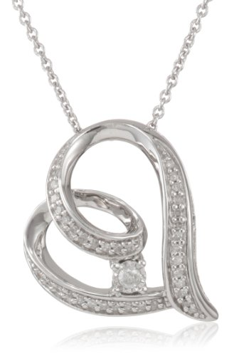 Sterling Silver Diamond Heart with Miracle Plate Pendant Necklace (1/10 Cttw, I-J Color, I2-I3 Clarity), 18