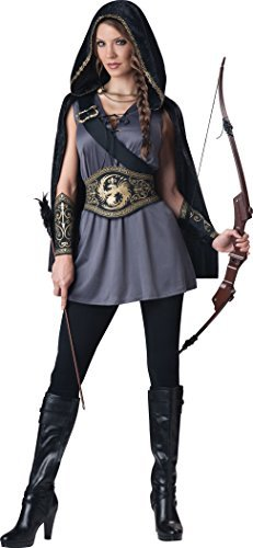 [Morris Costumes Huntress Adult Small Black/Grey by InCharacter] (Faux Chain Hooded Costumes)