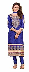 Parinaaz fashion Women's Blue cotton unstitched Straight Salwar Suit dress material