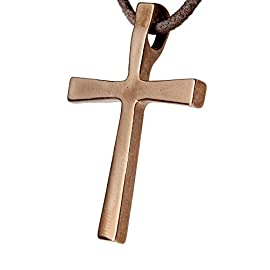 Cross Peace Bronze Pendant Necklace on Adjustable Natural Fiber Cord