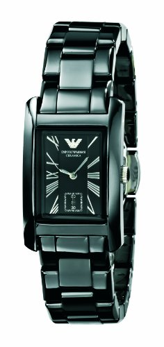 Emporio Armani Ladies Black Ceramic, AR1407 Rectangle Black Dial  Watch