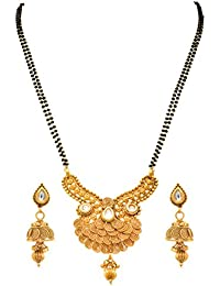 JFL - Traditional Ethnic Spiral Kundan One Gram Gold Plated Black Beaded Double Chain Designer Mangalsutra With...