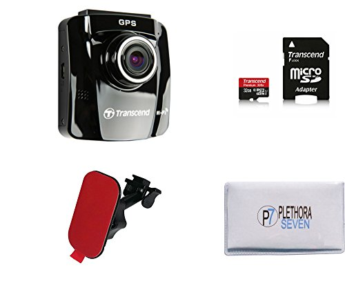 Transcend TS16GDP220A 32GB MicroSD DrivePro 220 Dash Cam Car Video Recorder with Adhesive Mount, Built-In Wi-Fi and GPS Receiver + Free 16GB MicroSD Card + Exclusive Company Microfiber Cleaning Cloth