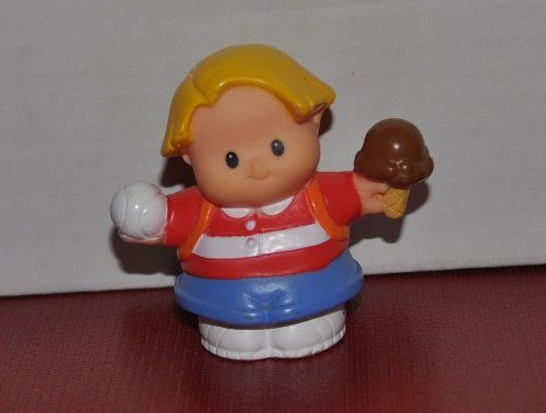 Little People Eddie (with Baseball and Icecream in hand) 2007 - Replacement Figure - Classic Fisher Price Collectible Figures - Zoo Circus Ark Pet Castle - 1
