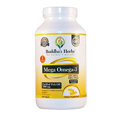 Buddha's Herbs One A Day-Mega Omega with 700 mg Omega 3, 200 Softgels