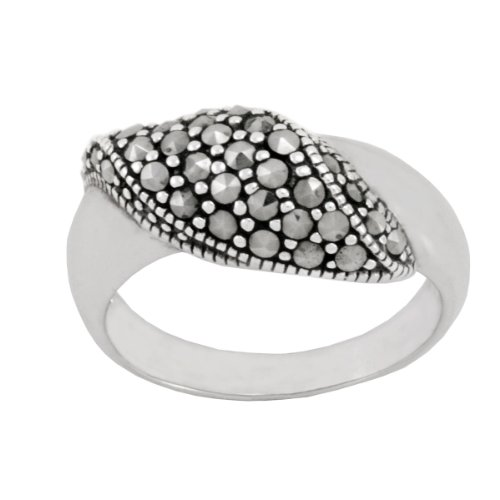 Sterling Silver Marcasite Wavy Band Ring, Size 5
