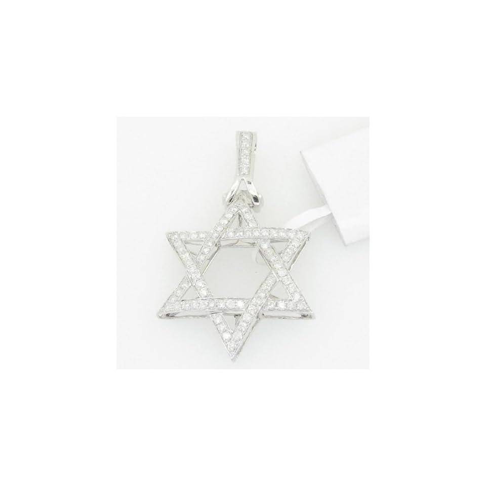 Mens 14K gold 1 33 diamond pendant charm jewish hebrew star