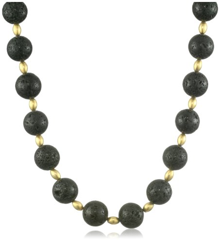 Lauren Harper Collection Midnight 18k Gold and Lava Stone Necklace