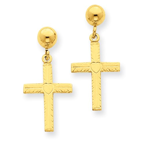 14k Polished and Satin Cross Dangle Earrings