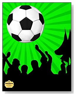 Soccer Fans Notebook - For the soccer lover in your life! A bright green and black background behind a large soccer ball make a dramatic combination for the cover of this wide ruled notebook.